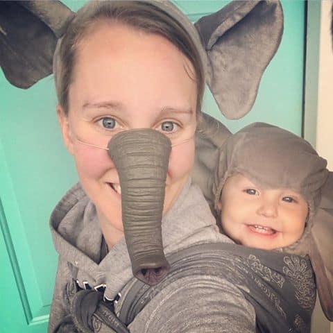 Babywearing Halloween costumes 2016: Elephants, by Shelby Williams
