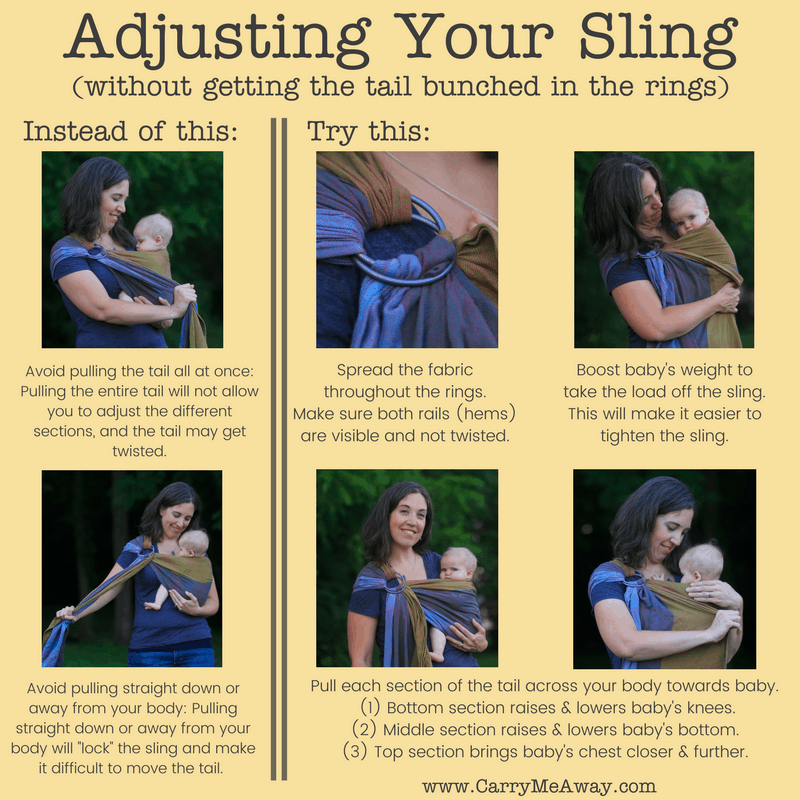 Tips for Adjusting Your Ring Sling without the fabric bunching up